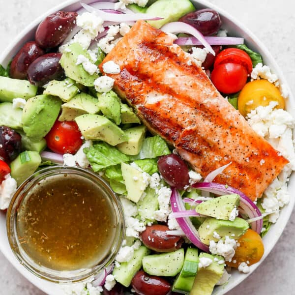 Bowl of grilled salmon salad.