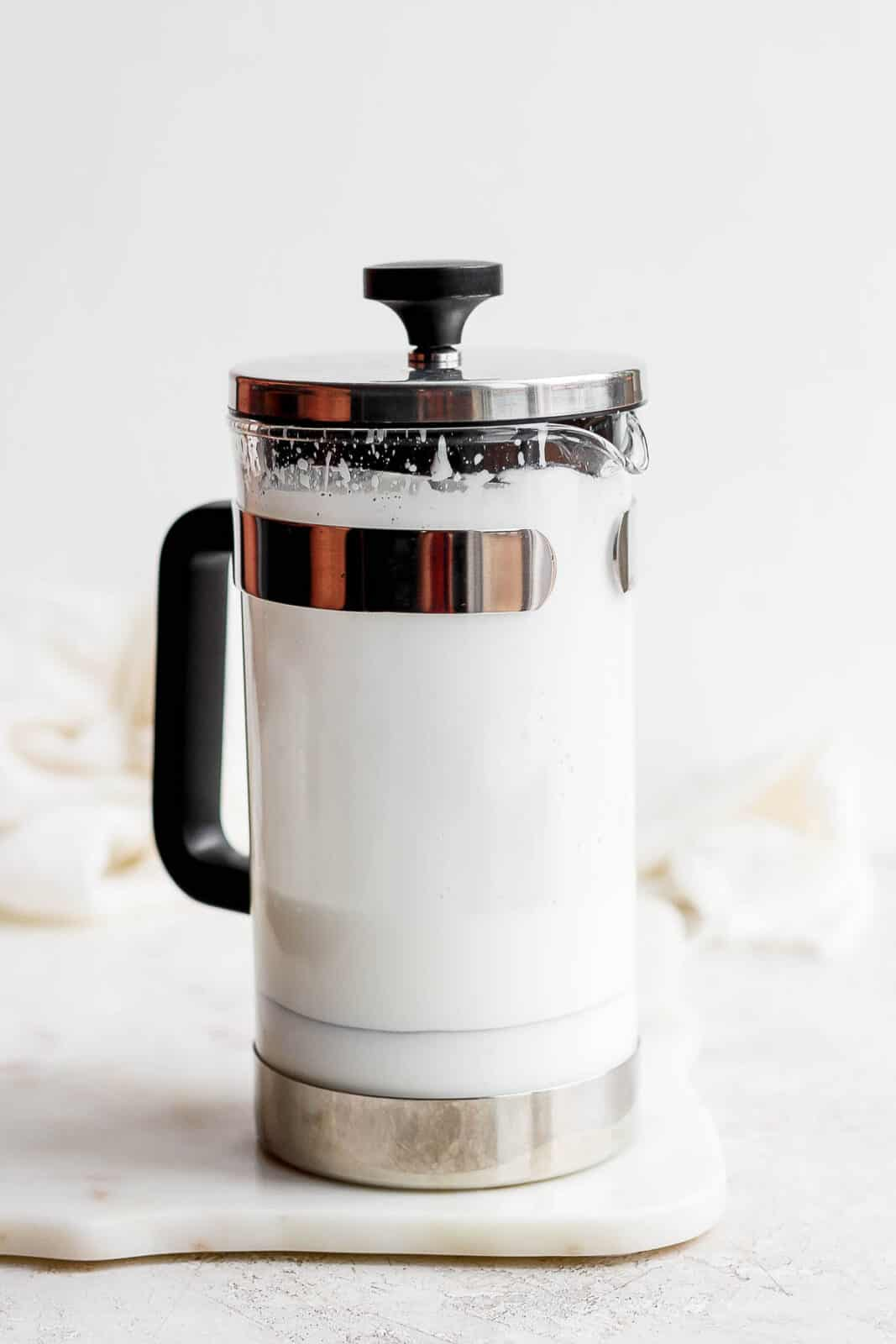 Sweet cream cold foam in a french press.