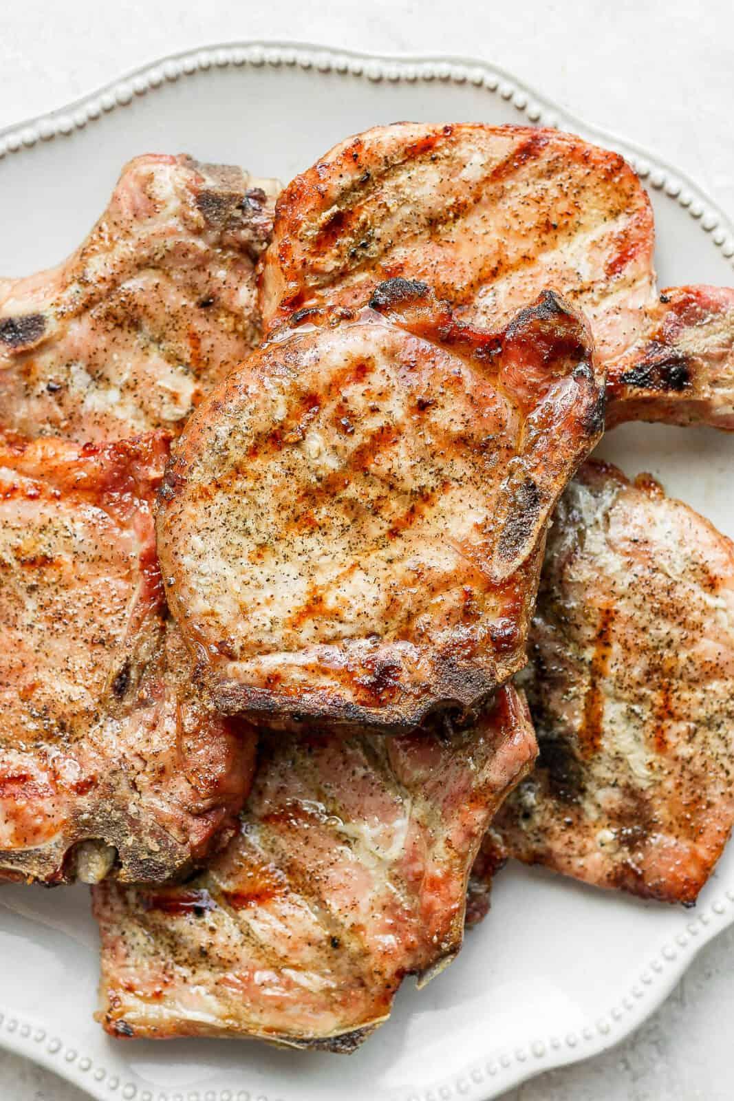 Plate of smoked pork chops.