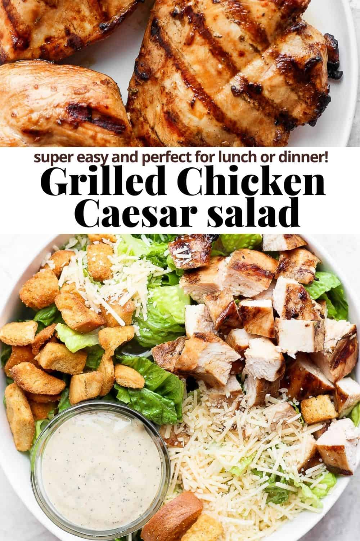 Pinterest image for grilled chicken caesar salad.