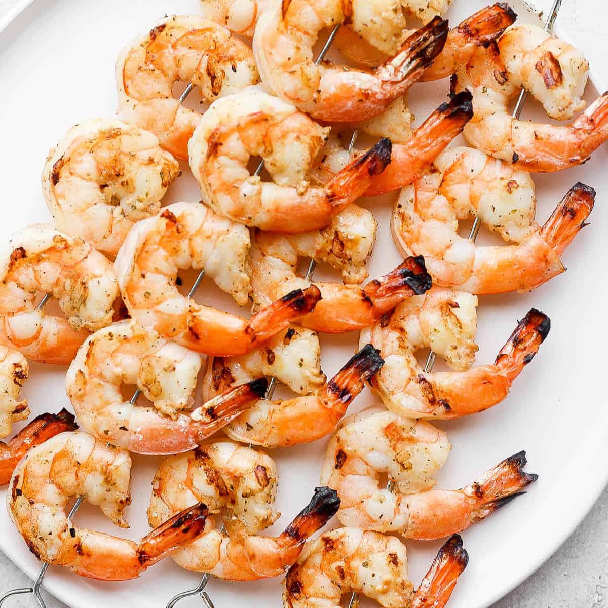 grilled shrimp on skewers.