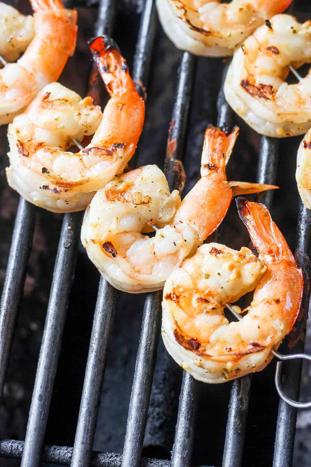 Shrimp skewers on the grill.