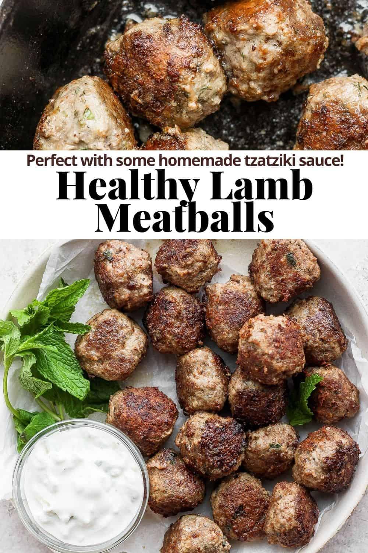 Pinterest image for lamb meatballs.