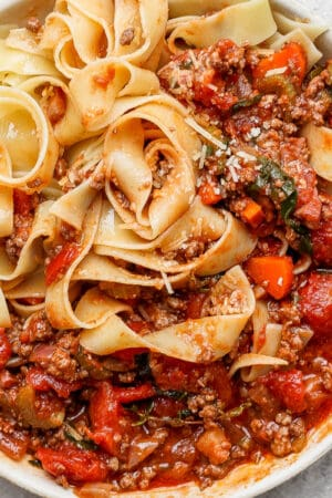 Bowl of Pappardelle Bolognese Sauce.