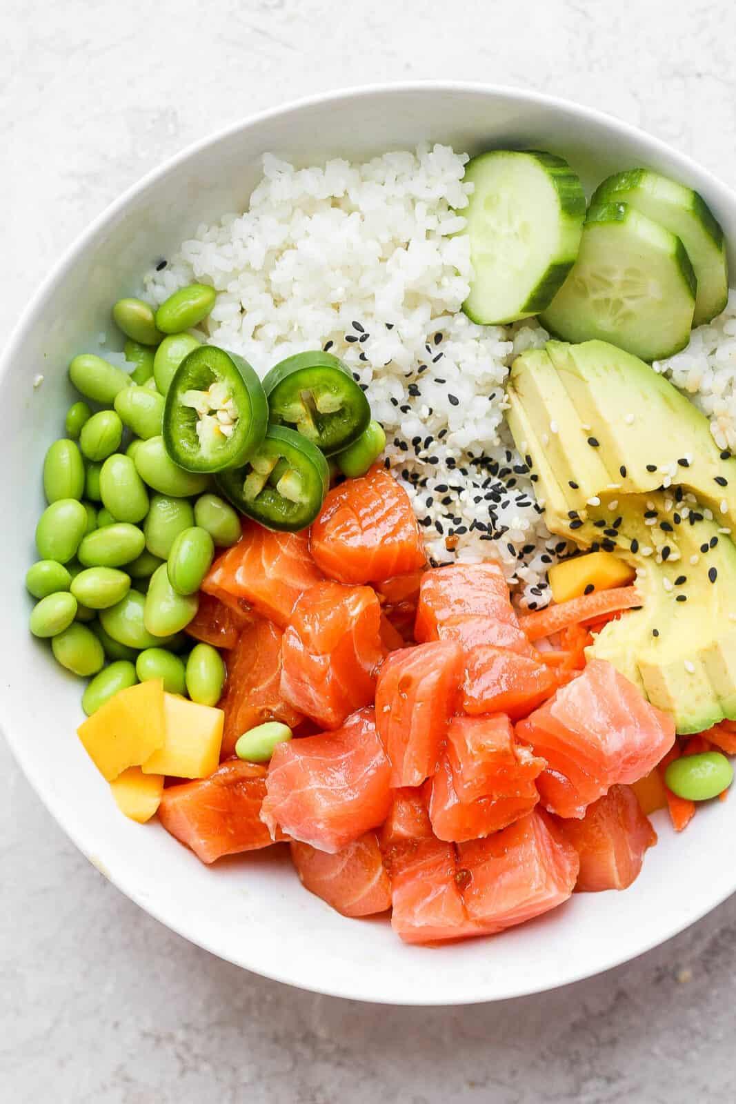 A salmon poke bowl.