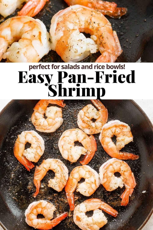 Pinterest image for pan fried shrimp.