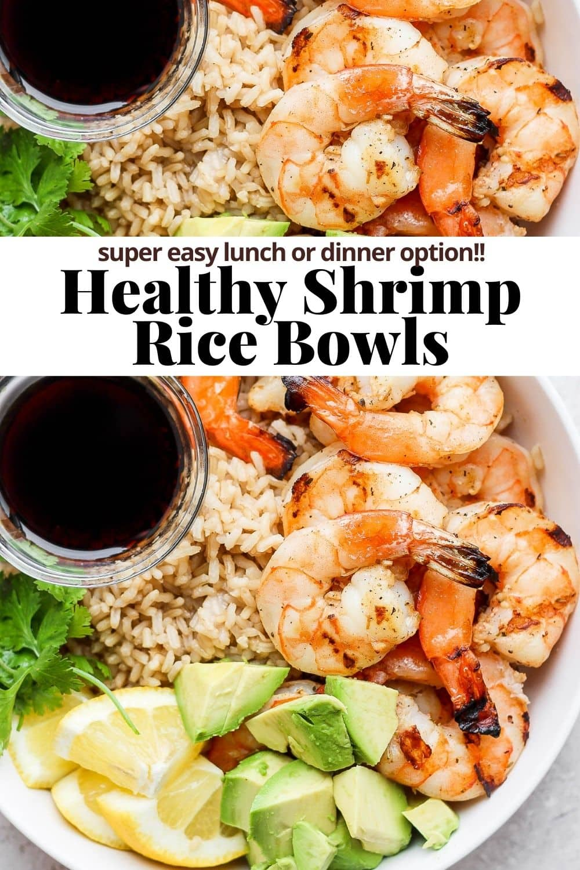 Pinterest image for shrimp rice bowls.