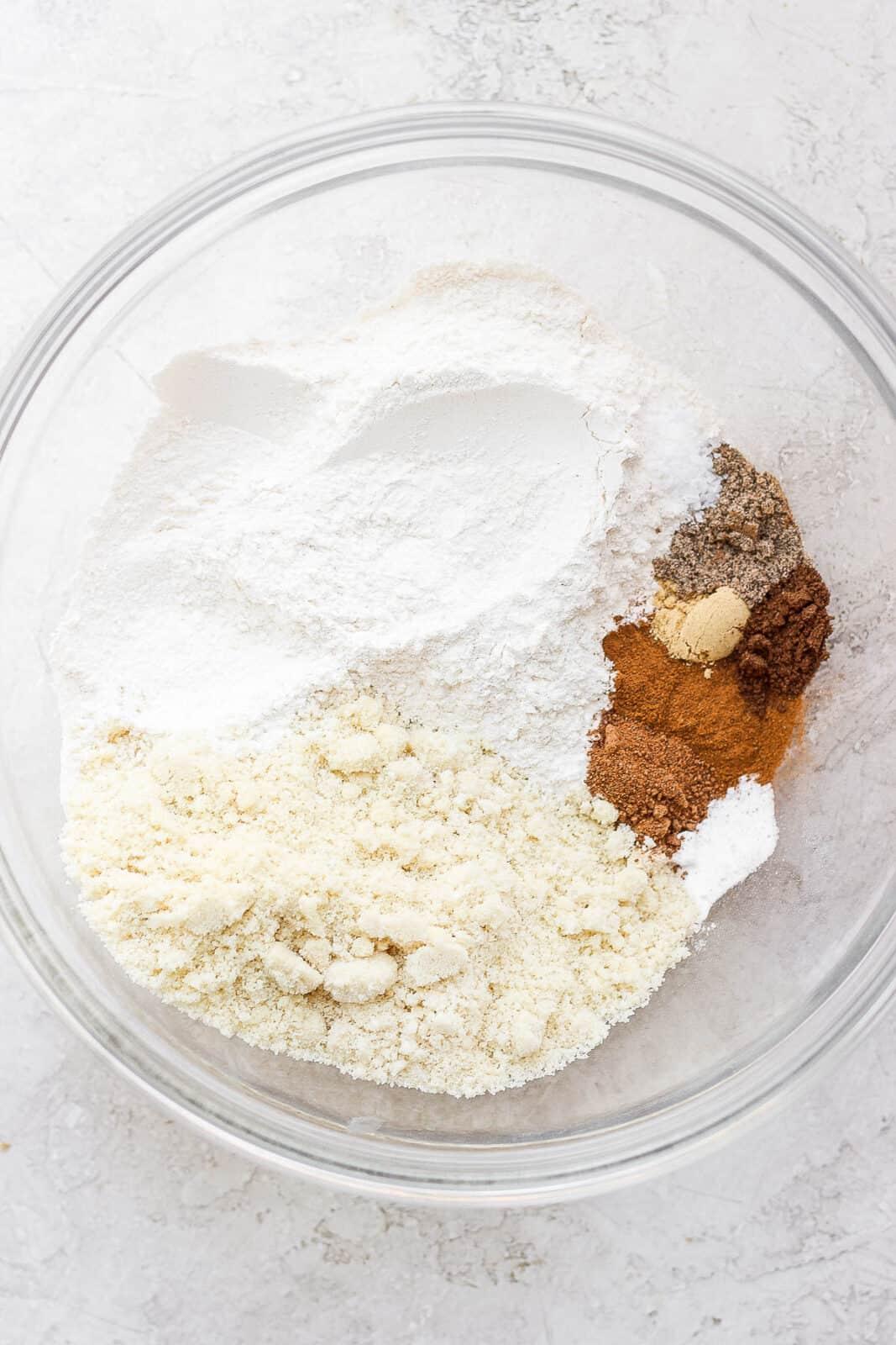 Dry ingredients for apple cinnamon muffins.