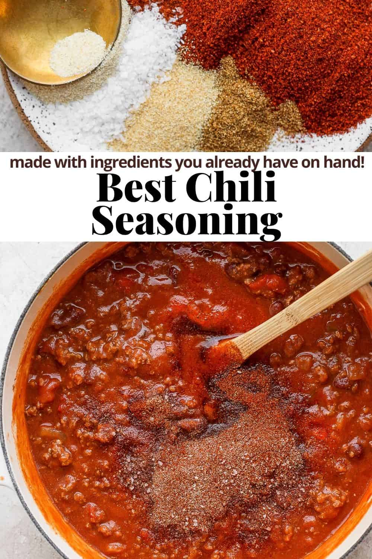 Pinterest image for the best chili seasoning.