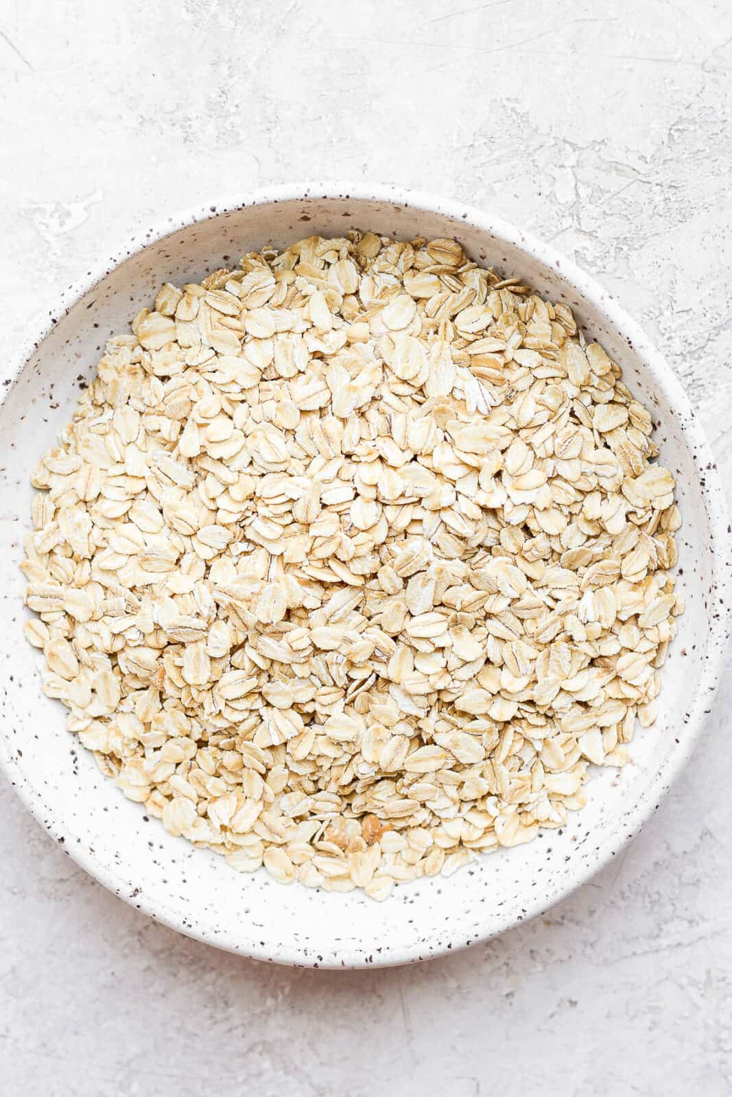 Rolled oats in a bowl.