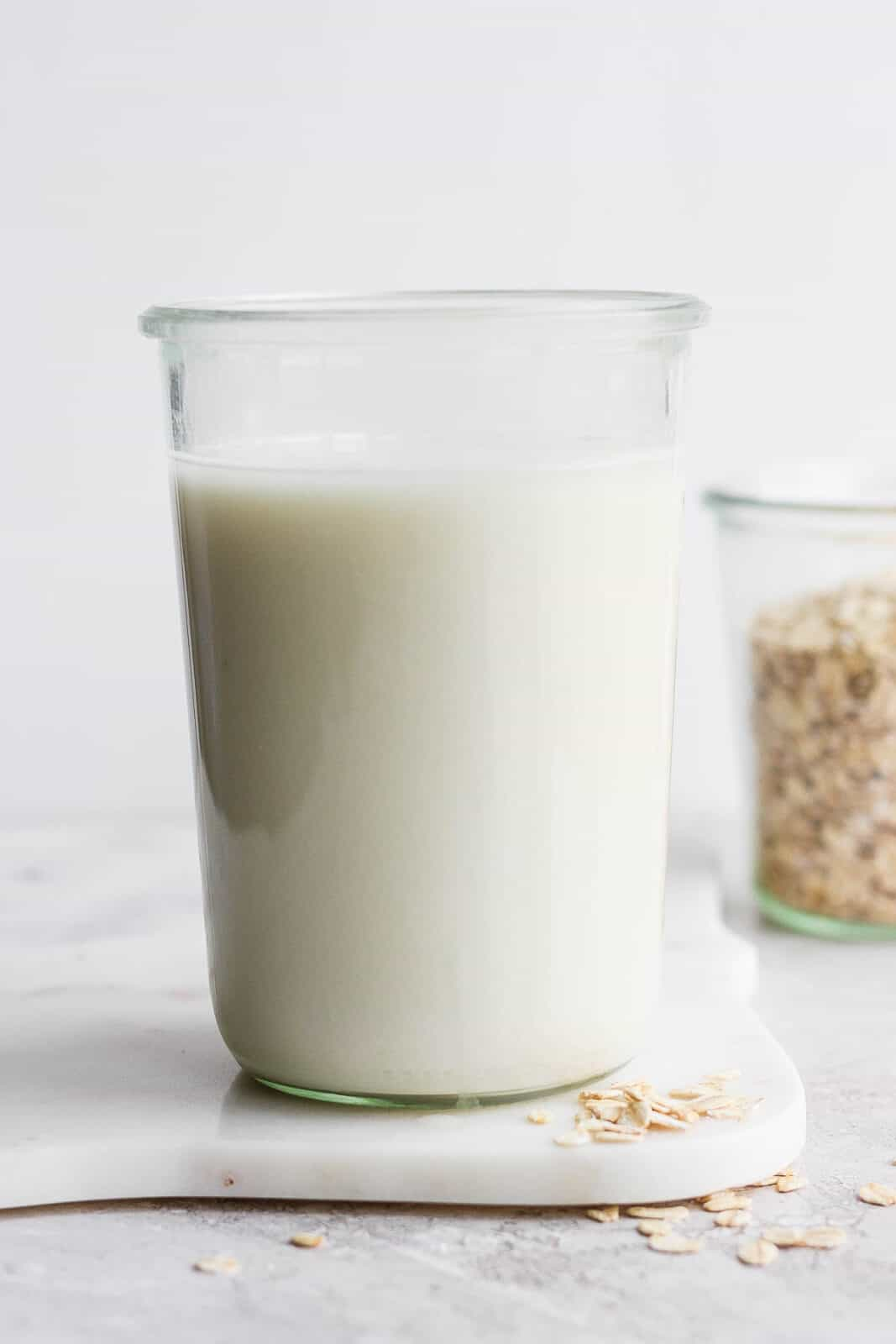Oat milk in a mason jar.
