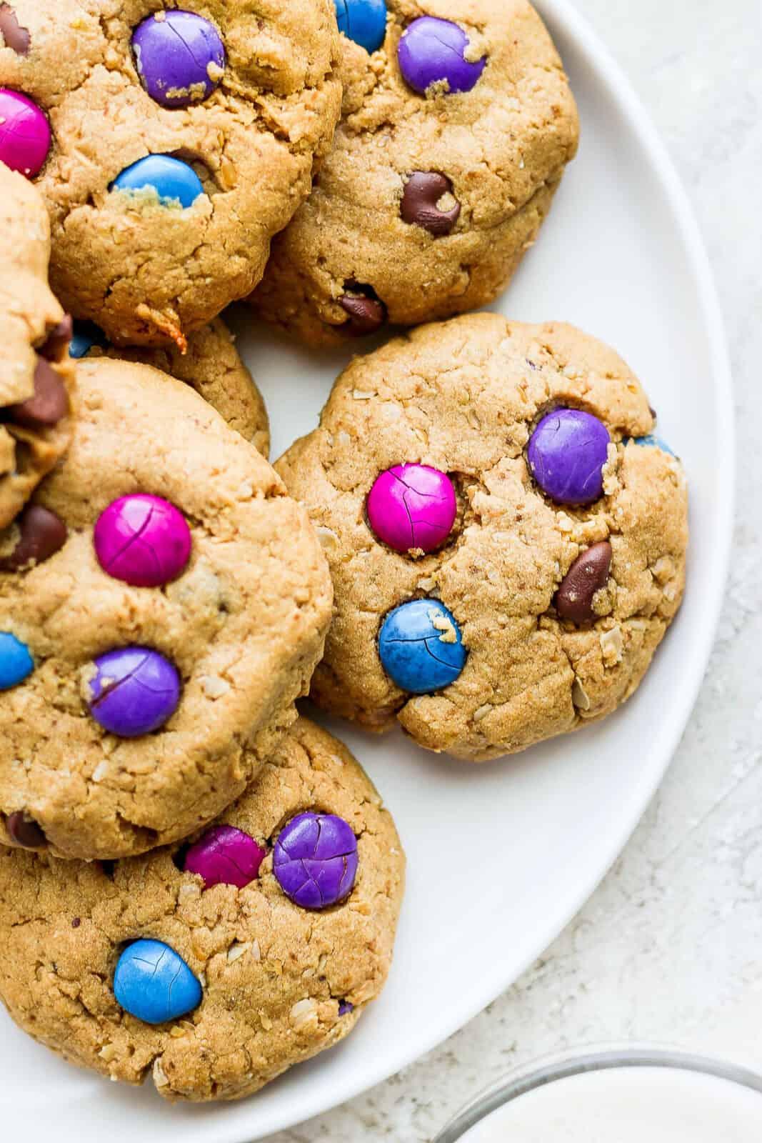 Plate of monster cookies.
