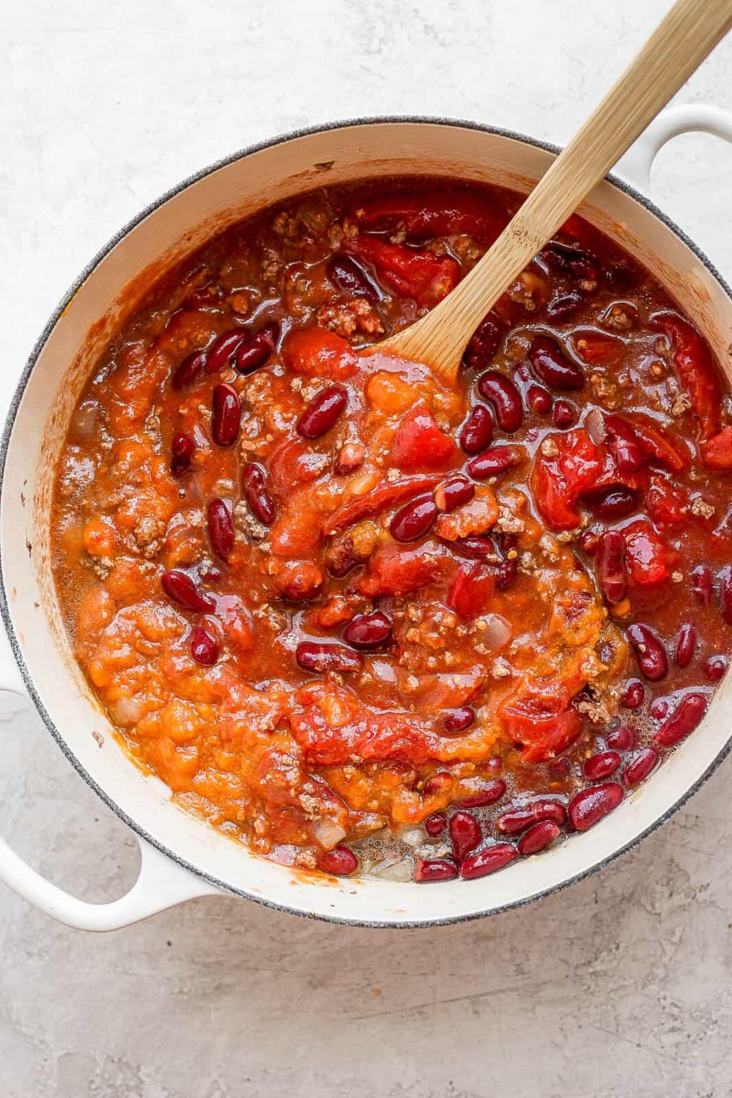 Pumpkin chili in a dutch oven.