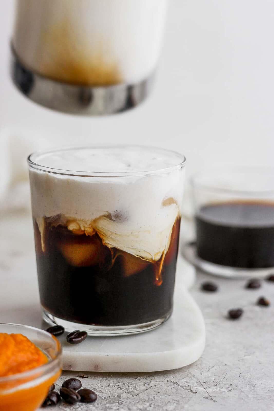 Glass of Pumpkin Cream Cold Brew.