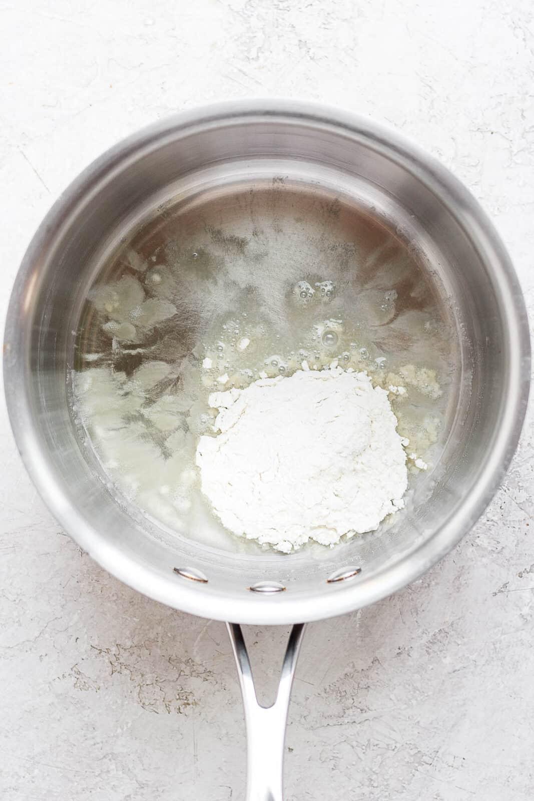 Olive oil and flour in a medium saucepan.