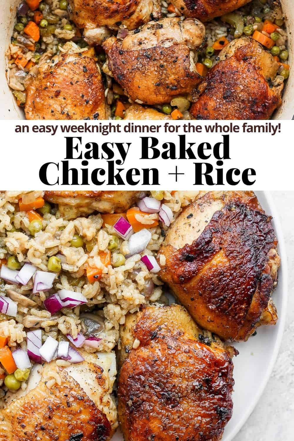 Pinterest image for baked chicken and rice.