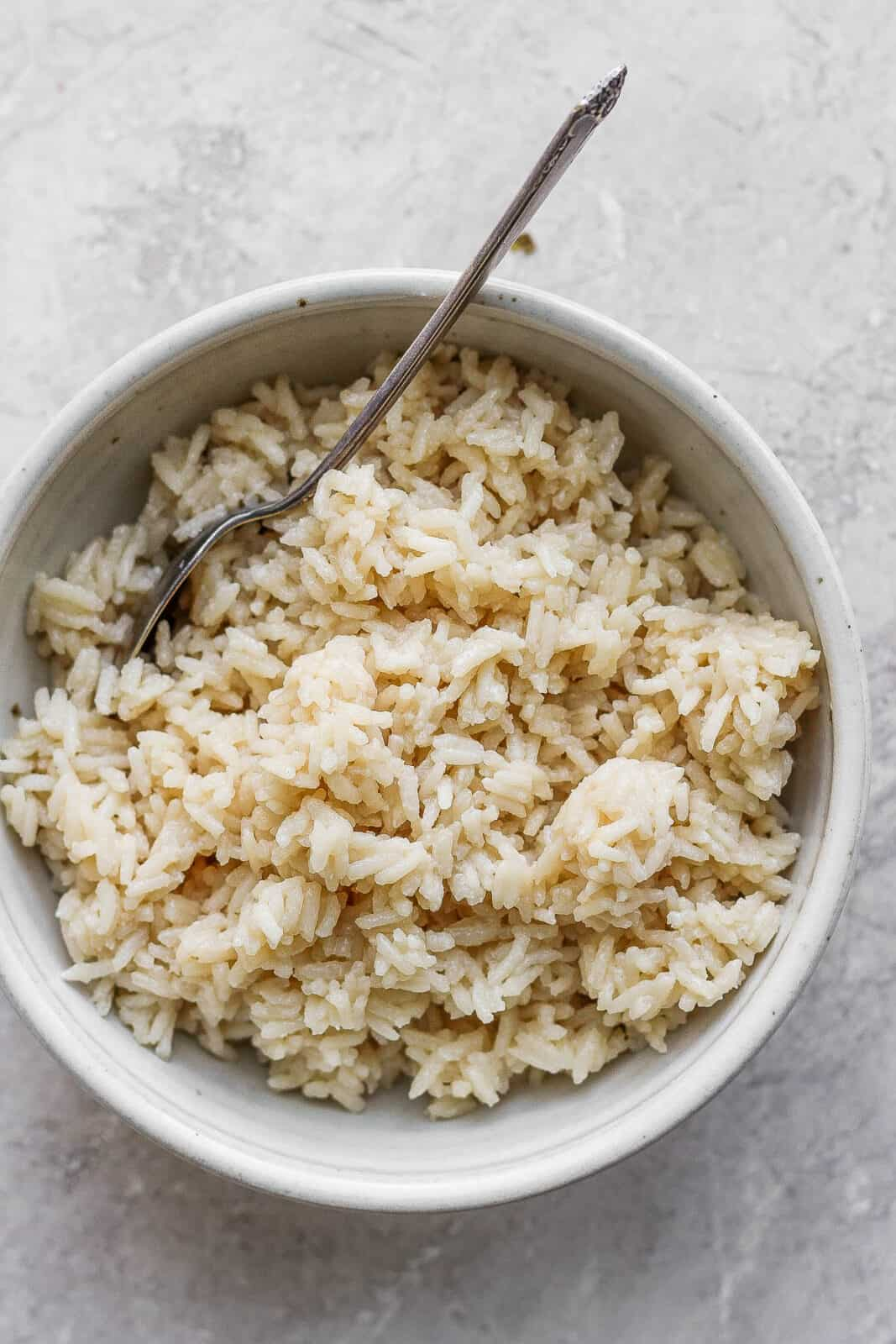 Bowl of coconut rice.