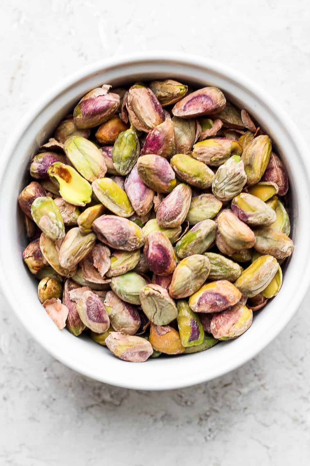 Shelled pistachios in a bowl.